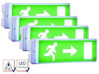 4er-Set LED Notbeleuchtung inkl. Ersatzbatterie u. 4 Richtungsaufkleber, IP65