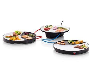 Tischgrill Dinner4All, 2 Porzelanteller mit Grillplatte, zentrale Servierplatte