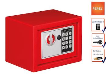 Elektronischer Safe mit Zahlencode, Möbeltresor rot 23x17x17cm, 2 Notschlüssel