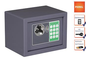 Elektronischer Safe mit Zahlencode, Möbeltresor grau 23x17x17cm, 2 Notschlüssel