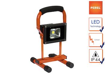 Tragbarer LED Baustrahler mit Akku, Fluter Arbeitsscheinwerfer 10W kaltweiß