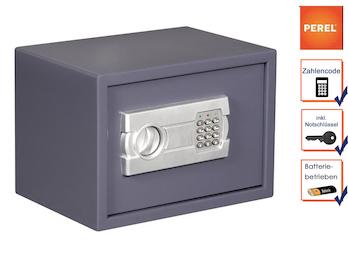 Elektronischer Safe mit Zahlencode, Möbeltresor grau 35x25x25cm, 2 Notschlüssel