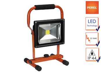Tragbarer LED Baustrahler mit Akku, Fluter Arbeitsscheinwerfer 20W kaltweiß