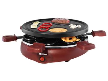Raclette für 6 Personen, Grillplatte mit Crêpeflächen, 800 Watt