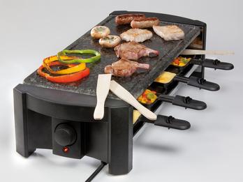 Raclette mit Naturstein poliert für 8 Personen, Pfännchen Antihaft-Beschichtung