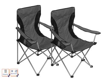 2er-Set Campingstühle Regiestühle faltbar aus Polyester mit Metallgestell