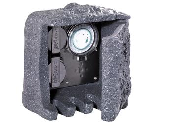 Außensteckdose Steinoptik 2 fach mit Zeitschaltuhr Gartensteckdose IP44