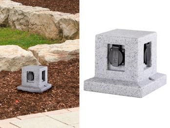 Außensteckdose Steinoptik 4 fach Gartensteckdose IP44 - 5m Zuleitung