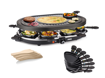Raclette und Grill Set, geeignet für 8 Personen, 1200 Watt, Antihaftbeschichtung