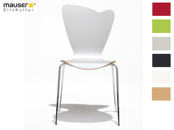 Design Stuhl HEART in Holzdekor weiß ohne Armlehne, stapelbar