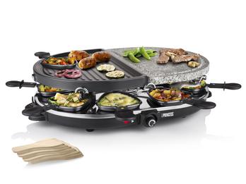 RACLETTE Partygrill oval mit Steinplatte & Grillplatte für 8 Personen, 1200 Watt