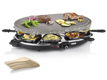 Raclette und Steingrill-Set für 8 Personen, 1200 Watt, Antihaftbeschichtung