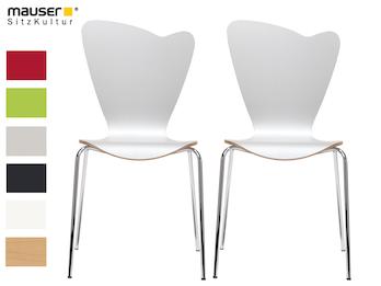 2er-Set Design Stühle HEART in Holzdekor weiß ohne Armlehne, stapelbar