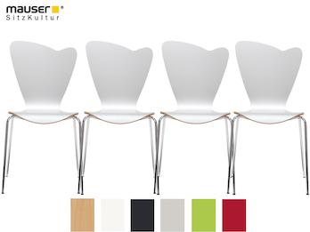 4er-Set Design Stühle HEART in Holzdekor weiß ohne Armlehne, stapelbar