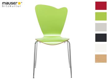 Design Stuhl HEART in Holzdekor grün ohne Armlehne, stapelbar