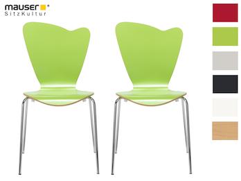2er-Set Design Stühle HEART in Holzdekor grün ohne Armlehne, stapelbar