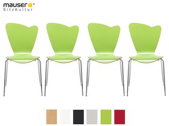 4er-Set Design Stühle HEART in Holzdekor grün ohne Armlehne, stapelbar