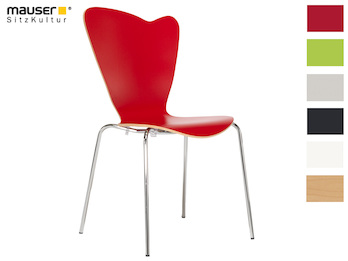 Design Stuhl HEART in Holzdekor rot ohne Armlehne, stapelbar