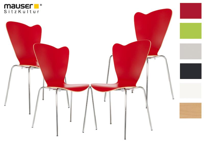 Mauser Sitzkultur 4er Set Design Stühle HEART Rot