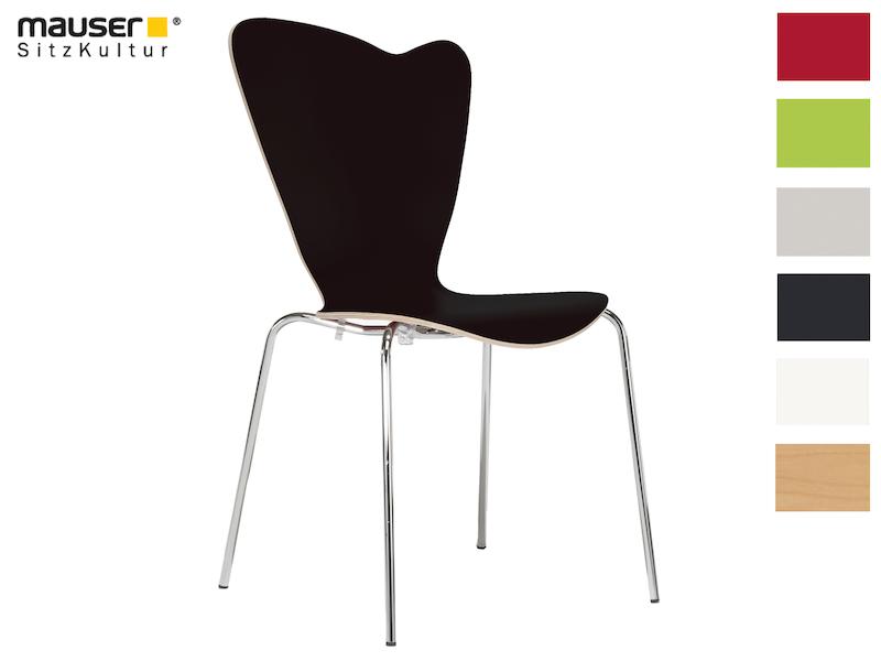 Design Stuhl HEART in Holzdekor schwarz ohne Armlehne, stapelbar