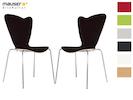 2er-Set Design Stühle HEART in Holzdekor schwarz ohne Armlehne, stapelbar