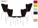4er-Set Design Stühle HEART in Holzdekor schwarz ohne Armlehne, stapelbar