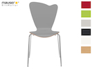 Design Stuhl HEART in Holzdekor grau ohne Armlehne, stapelbar