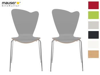 2er-Set Design Stühle HEART in Holzdekor grau ohne Armlehne, stapelbar