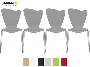 4er-Set Design Stühle HEART in Holzdekor grau ohne Armlehne, stapelbar
