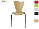 Design Stuhl HEART in Holzdekor buche ohne Armlehne, stapelbar