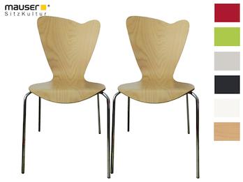 2er-Set Design Stühle HEART in Holzdekor buche ohne Armlehne, stapelbar