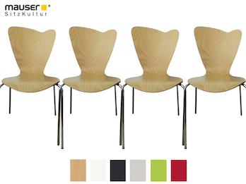 4er-Set Design Stühle HEART in Holzdekor buche ohne Armlehne, stapelbar