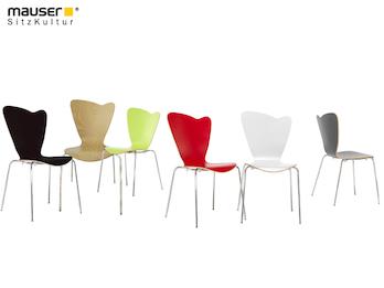 Design Stuhl HEART in Holzdekor ohne Armlehne, verschiedene Farben stapelbar