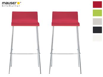 2er-Set Design Barhocker schlanke Form, Holzdeckor rot, Gestell glanzverchromt