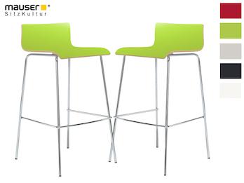 2er-Set Design Barhocker schlanke Form, Holzdeckor grün, Gestell glanzverchromt