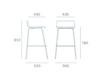 2er-Set Design Barhocker schlanke Form, Holzdeckor grau, Gestell glanzverchromt