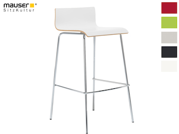 Design Barhocker in schlanker Form, Holzdeckor weiß, Gestell glanzverchromt