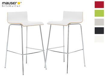2er-Set Design Barhocker schlanke Form, Holzdeckor weiß, Gestell glanzverchromt