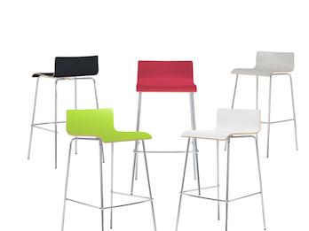 Design Barhocker in schlanker Form Holzdeckor versch. Farben Gestell verchromt