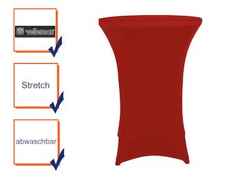 Hochwertige und pflegeleichte Stehtischhusse bordeauxrot, Stretch - Tischhusse