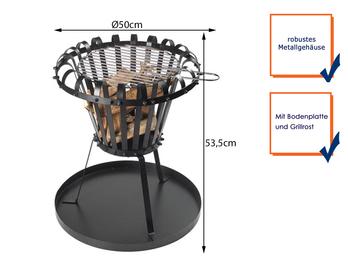 Feuerkorb rund mit Ascheplatte und Grillrost, schwarz, Ø 50cm, Höhe 53,5cm
