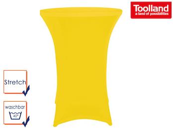 Hochwertige und pflegeleichte Stehtischhusse in gelb, Stretch - Tischhusse