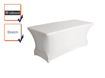 Hochwertige und pflegeleichte Tischhusse Tischüberzug - weiß abwaschbar