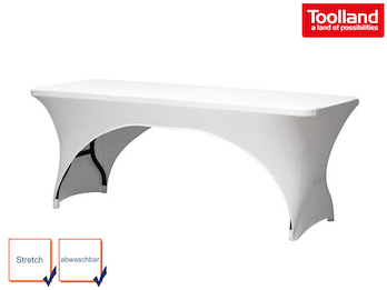 Hochwertige und pflegeleichte Tischhusse Tischüberzug - weiß bogenförmig