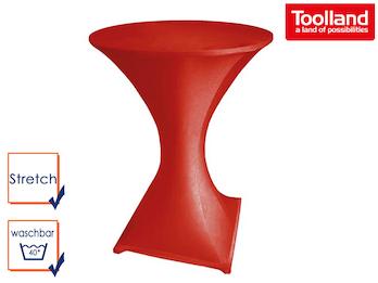 Hochwertige und pflegeleichte Stehtischhusse in rot, Stretch - Tischhusse