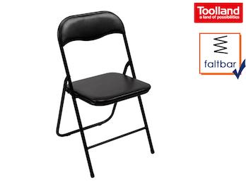 Gepolsterter Klappstuhl schwarz, faltbarer Stuhl, Campingstuhl, Terrassenmöbel