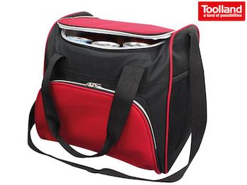Kühltasche Thermotasche mit 2 Fächern, PEVA-Beschichtet, rot schwarz, 32x23x28cm