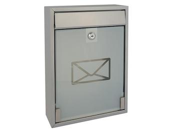 Briefkasten Milan Silber mit Namensschild und 2 Schlüsseln 260 x 360 x 80 mm