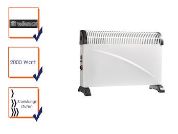 Konvektor Heizung, 2000W, 3 Heizstufen, Thermostat, Überhitzungsschutz