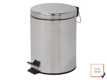 Mülleimer Treteimer, Chrom, 5 L, herausnehmbarer Innenbehälter, Ø 20,5 x 27,5cm